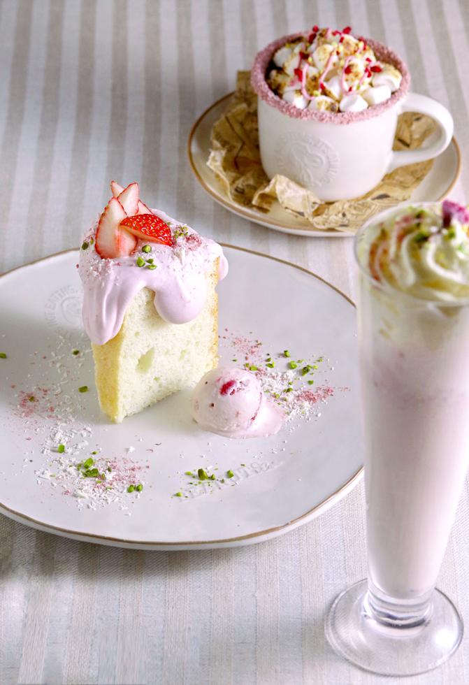 エンジェルフードケーキ / 焼きマシュマロ さくらストロベリーラテ / さくらミルクセーキ