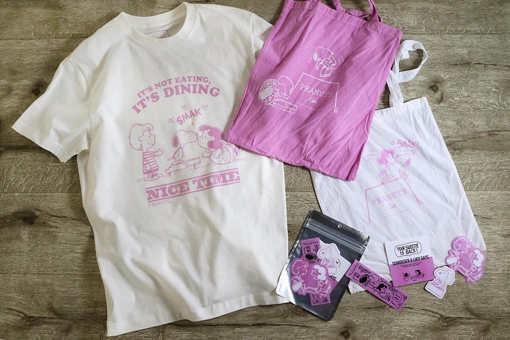 PEANUTS Cafe 中目黒、PEANUTS DINER 横浜、PEANUTS Cafe オンラインショップで販売の「エコトート」「PEANUTS CafeオリジナルTシャツ(シュローダー&ルーシー)」